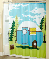 Retro Camping Trailer Bathroom Shower Curtain, Towels Toothbrush Soap Holder Rug