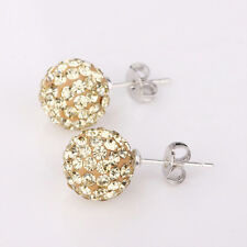 925 Sterling Silver Sparkling Disco Crystal Ball Stud Earring, Multiple colors