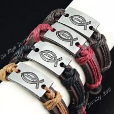 Jesus 6-12pcs Leather Alloy Women Mens Vintage Bracelets Wholesale Jewelry Lots