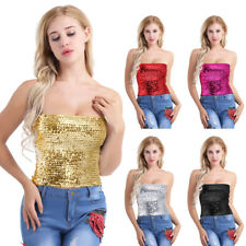 Sexy Women's Sequins Slim Tank Top Crop Top Leather T-Shirt Blouse Bustier Clubs