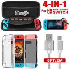 For Nintendo Switch 4in1 Hard EVA Carry Case Bag+Film+Charging Cable+Shell Case