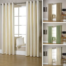 Jacquard Heavy Woven Ivory Leaf Trail Ring Top Eyelet Pair Ready Made Curtains