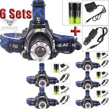 6Sets 30000LUMEN  T6 LED Zoomable Headlamp Head-lamp Flashlight+Charger+18650 US