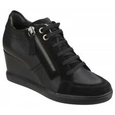 GEOX ELENI Ladies Womens Leather Lace Up Zip Up Heeled Trainer Shoes Black New