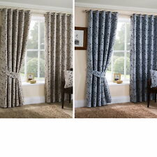 Jacquard Woven Leaves Floral Trail Ring Top Eyelet Pair Ready Made Curtains