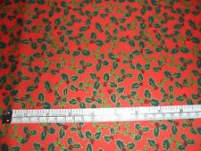 Sale Christmas fabric material Fat Quarter 50 x 47 cms Red Holly