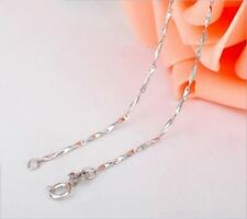 Simple Ingot Rolo Chain Necklace Pure 925 Solid Sterling Silver Fine Jewelry