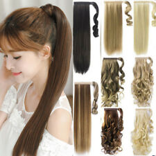 Hair Wrap Thick Ponytail Clip in Hair Extensions Fashion Curly Straight as Human
