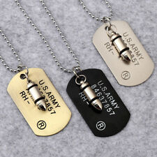 1xMen Military Army Bullet Charm Dog Tags SINGLE EMBOSSED Pendant Chain Necklace
