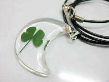 COOL JEWELRY FOUR LEAF CLOVER CLEAR MOON PENDANTS  F62