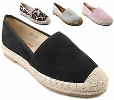 LADIES FAUX SUEDE ESPADRILLES FASHION SKATER RUBBER SOLE TRAINERS CASUAL SHOES