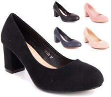 NEW WOMENS LADIES HIGH BLOCK HEEL SLIP ON MARY JANE PUMPS COURT SHOES SIZE 3-8