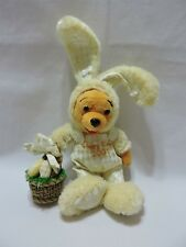 "Disney Happy Easter Winnie The Pooh 2004 Yellow Holding Basket 9"" Plush Toy"