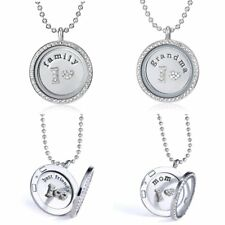 Family Grandma Living Memory Floating Glass Locket Charms Pendant Necklace Gift