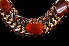 STATEMENT WOVEN BRAIDED CRYSTAL BEADED CHAIN DETAIL STONE PENDANT BIB NECKLACE