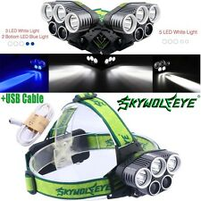 Military 5X T6 LED Headlamp USB Rechargeable 80000LM 18650 Headlight Flashlights