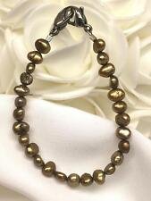 Gold Freshwater Pearl Medical ID Alert Replacement Bracelet! (MA065)