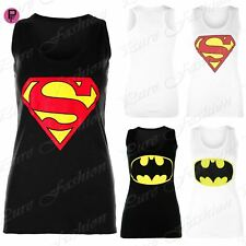 Womens Sleeveless Superman Batman Ladies Muscle Racer Back Top Tee Shirt Vest