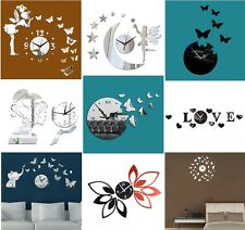 Modern Adhesive 3D DIY Wall Clock Sticker With Decals Home Decor Black Silver