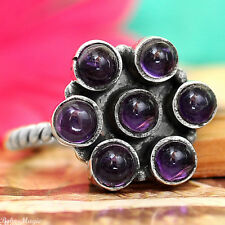 Solid 925 Sterling Silver Ring Genuine Amethyst Gemstone Jewelry US Size