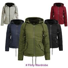 Womens Quilted Bubble Padded Hooded Cropped Warm Jacket Ladies Puffer Zip Coat