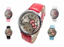 Children Hello Kitty Quartz Fashion Watch Leather Strap Crystal Wristwatch Timep