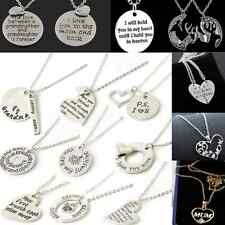 Charm Family Heart couple Women Love Necklace gold Silver Pendant Chain Jewelry