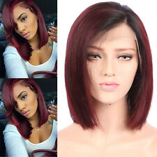 Hot 100% Human Hair Short Straight Wave Bob Wig Pre Plucked Lace Front Wigs #1B