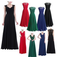 Women Long Chiffon Evening Formal Party Cocktail Pleated Dress Bridesmaid Prom