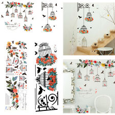 Removable Wall Decal Vinyl Art Sticker Decor Flowers Wreath Birdcage+Birds Mural