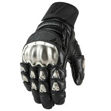 Icon Timax Short Titanium Knuckle Leather Motorcycle Gloves