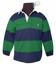NEW Polo Ralph Lauren Boys Rugby Shirt!  *Green and Navy Stripe or Bright Green*