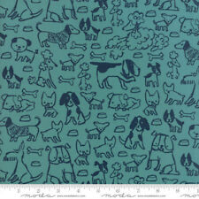 Woof Woof Meow Quilt Fabric Barky Bark Turquoise Style 20563/16