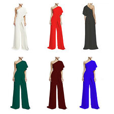 Womens Fashion One Shoulder High Waist Wide Leg Asymmetric Jumpsuit Pants White