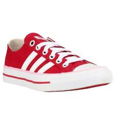 Adidas VLNeo 3 Stripes Lo Womens Casual Canvas Lace Up Red Trainers Shoes UK4.5
