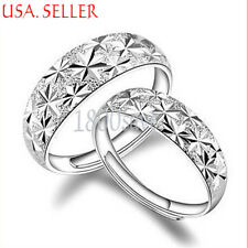 1 pc 925 Sterling Silver Comfort Carved Flower Couple Adjustable Band Ring E1078