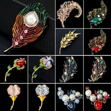 Rose Feather Leaf Flower Tibetan Silver Pearl Rhinestone Brooch Pin Jewelry New