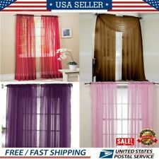 USA Door Window Room Home Curtain Drape Panel Scarf Valance Sheer Voile Solid