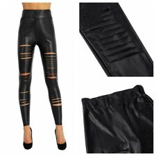 Womens Skinny Faux Leather Stretchy Pants Leggings Pencil Tight Trousers Showy