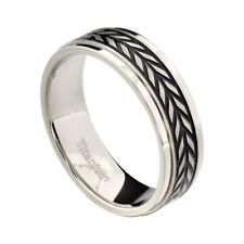 7mm Titanium Step Edges Band Woven Carved Men's Infinity Wedding Ring