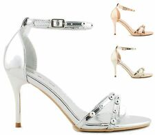 LADIES OPEN TOE ROSE GOLD HIGH HEELS STRAPPY STUDDED SANDALS SHOES SIZE 3-8 UK