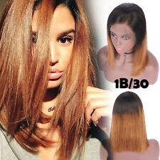 Remy Indian Human Hair Ombre Dyeing Bob Style Lace Front Wig Pre Plucked Hairlin