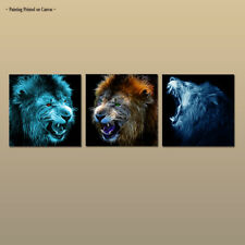 Large MODERN Fantasy Lion Roaring Canvas Print Painting Wall Art Home Decor 3Pcs