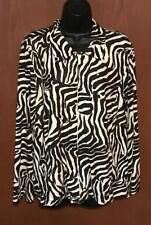 Laura Ashley Woman Zebra Animal Print Zip Up Jacket Coat Loungerwear Sz 2X