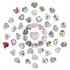 Love Heart Charms Bead  Fit 925 Silver Sterling Bracelets Necklace