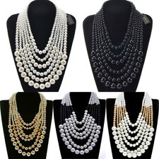 Fashion Jewelry Collar Chunky Cluster Statement Pearl Chain Pendant Bib Necklace
