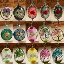 Fashion Natural Dried Flower Glass Pendant Necklace Sweater Chain Women Jewelry