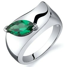 Marquise Cut 1.00 cts Emerald Ring Sterling Silver Sizes 5 to 9