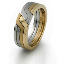 9kt Tricolor Gold 4 Band Unity / New Design Puzzle Ring