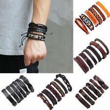 6pcs Fashion Mens Punk Leather Wrap Braided Wristband Cuff Punk Bracelet Bangle